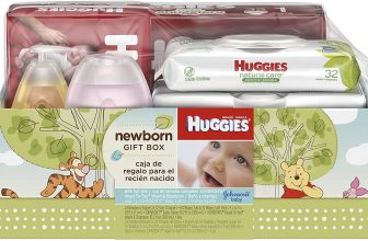 Huggies Newborn Gift Box – Little Snugglers Diapers (Size Newborn 24 Ct & Size 1 32 Ct), Natural Care Unscented Baby Wipes (96 Ct Total), and Johnson's Shampoo & Baby Lotion (Packaging May Vary)